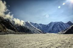 Central Tien Shan. The Northern Inylchek Glacier in the mountains of Central Tien Shan royalty free stock image