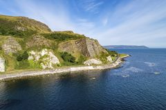 Northern Ireland. Atlantic coast, cliffs and coastal road stock photos