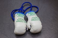 Northern Ireland boxing team miniature boxing gloves memorabilia from the 2006 Commonwealth Games held in Melbourne Australia. Owned by a collector in Bangor Stock Photography