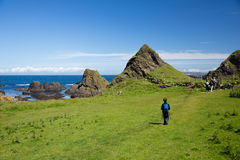 Northern Ireland coast landscape, hiking family Stock Images