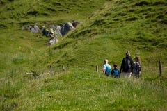 Northern Ireland coast landscape, hiking family Stock Photography
