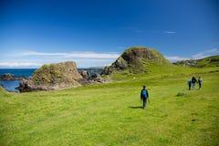 Northern Ireland coast landscape, hiking family Stock Image