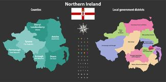 Northern Ireland counties and local government districts vector map Royalty Free Stock Image