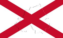 Northern Ireland Flag and Map. Saint Patrick`s Saltire 3D illust Stock Photography