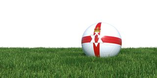 Northern Ireland flag soccer ball lying in grass world cup 2018. Isolated on white background. 3D Rendering, Illustration Royalty Free Stock Photography