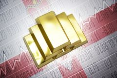 Northern ireland gold reserves. Shining golden bullions lie on a northern ireland flag background Stock Photography