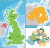 Northern Ireland map Stock Photography