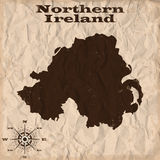Northern Ireland old map with grunge and crumpled paper. Vector illustration Royalty Free Stock Photography