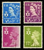 Northern Ireland Postage Stamps. Four Postage Stamps from Northern Ireland, Britain Royalty Free Stock Image
