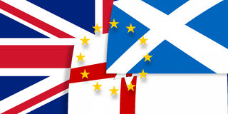 Northern Ireland Scotland Europe and United Kingdom Flags Stock Images