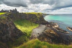 Northern Ireland shoreline. Dunluce castle. royalty free stock images