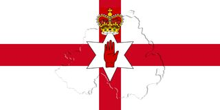 Northern Ireland Ulster Banner. Flag With Map On It 3D illustrat Royalty Free Stock Photos