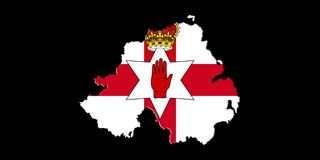 Northern Ireland Ulster Banner. Map With Flag On It Isolated On Royalty Free Stock Photography