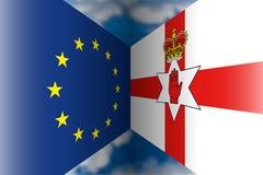 Northern ireland versus european union  flags. Europe vs northern ireland symbol and flags Stock Image