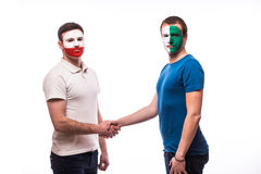 Northern Ireland vs Poland friendly handshake egual game Stock Images