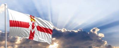 Northern Ireland flag on blue sky. 3d illustration Stock Photo