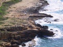 Northern Isreali Coastline. Waves crash against rocks on Israels Northern shores Royalty Free Stock Image