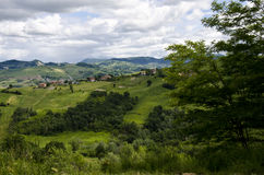 Northern Italy - Idyllic landscape. Idyllic landscape - View from the hill in summer - Appennini Modenesi - Region of Emilia-Romagna - Northern Italy - Europe Stock Images