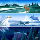 Northern Landscape Flat Banners set Stock Photo