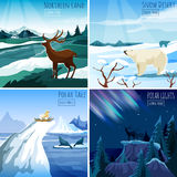 Northern Landscape 4 Flat Icons Square Royalty Free Stock Images