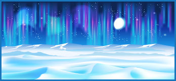 Northern landscape at night. Stylized vector illustration on the theme of winter and the north. Boundless northern landscapes in the light of the moon and stars Stock Image