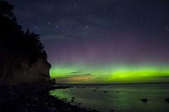 Northern ligh Aurora Boralis over the Baltic sea in Sweden Royalty Free Stock Images