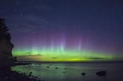 Northern ligh Aurora Boralis over the Baltic sea in Sweden Stock Photos