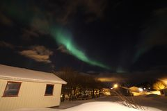 Northern Light  above norwegian village Stock Images