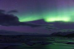 Northern Light Aurora borealis Jokulsarlon Glacier Stock Photos