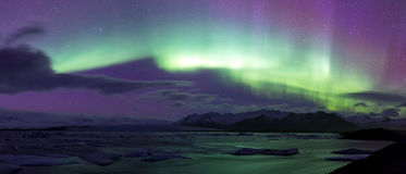 Northern Light Aurora borealis Jokulsarlon Glacier Stock Images