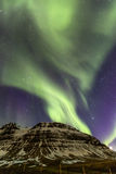 Northern Light Aurora borealis at Kirkjufell Iceland with fully. Start in the sky Royalty Free Stock Photography