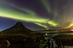 Northern Light Aurora borealis at Kirkjufell Iceland with fully. Start in the sky Stock Photos