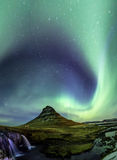 Northern Light Aurora borealis at Kirkjufell Iceland with fully. Start in the sky Stock Photography