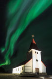 The Northern Light aurora over at Vik Church Stock Photography