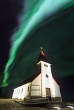 The Northern Light aurora over at Vik Church Royalty Free Stock Photos