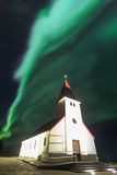 The Northern Light aurora over at Vik Church Royalty Free Stock Image