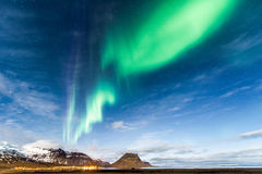 Northern Light in Kirkjufell Iceland Stock Images