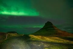The Northern Light at the mountain Kirkjufell Iceland Royalty Free Stock Image