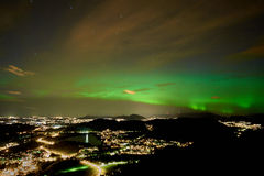 Northern light over Bergen town Stock Photo