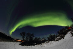 Northern Light's arc  above Leknes Royalty Free Stock Image