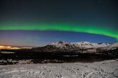 Northern Lights. The northern lights over the Chugach Mountains in Alaska Royalty Free Stock Photography