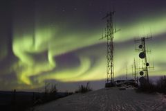 Northern lights above antennas royalty free stock images
