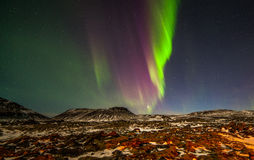 Northern Lights. Above the mountains at Reykjanes peninsula in Iceland Stock Photography