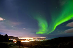 Northern lights above Reykjavik Iceland Royalty Free Stock Photo