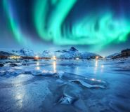 Northern lights above snowy mountains, frozen sea coast. And houses in Lofoten islands, Norway. Aurora borealis and small village. Winter landscape with polar royalty free stock photo