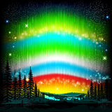 Northern lights abstract background with skyline Stock Images