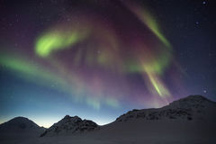 Northern Lights on the Arctic sky - Spitsbergen, Svalbard Stock Image