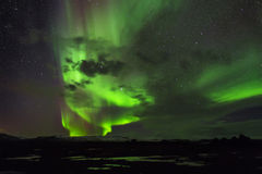 The Northern Lights. As seen from Western Iceland. Polar aurora Stock Image
