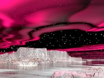 Northern lights (aurora borealis)  - 3D render Stock Image