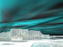 Northern lights (aurora borealis)  - 3D render. Northern lights (aurora borealis) over icebergs and ocean by night Royalty Free Stock Images